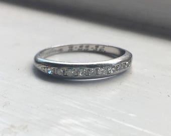 Art Deco Platinum Diamond Wedding Band size 6