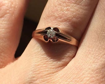 Antique 10k Rose Gold Old Mine Cut Engagement Ring size 6
