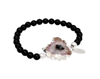 On Sale Black onyx bracelet, amethyst bracelet, sterling silver, onyx jewelry, raw amethyst stalactite , stretch bracelet, beaded bracelet,