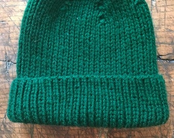 Forest Green Hand- Knit Slouchy Beanie