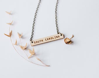 South Carolina Wood Bar Necklace, Laser Cut Wood Charm, Birch Pendant Minimalist Necklace South Carolina State Pride Engraved State Necklace