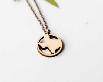 Texas Ring Pendant Necklace, Laser Cut Wood Charm Baltic Birch Pendant Texas State Necklace State Shape Necklace State Pride