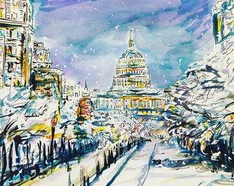 Snowy washington DC