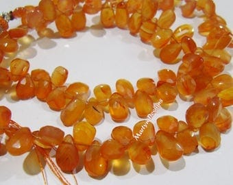 Genuine Carnelian Briolette Beads , Natural Carnelian Pear Shape approximately 5x7 to 6x9 mm Beads , Strand 8 inches long , Side Drilled.