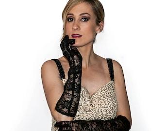 Black Lace Elbow Length Gloves 4439BK