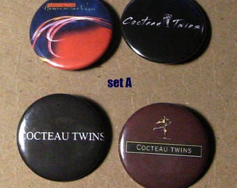 "Cocteau Twins pins/badges/buttons!! 1-1/2"" Sets of 4"