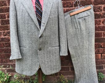 Two piece herringbone wool suit