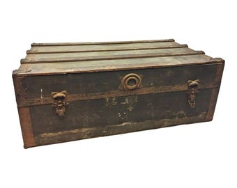 Vintage STEAMER TRUNK storage chest train luggage antique flat top wood toy box coffee table base rustic primitive wooden low steampunk 1716
