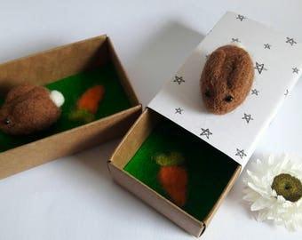 Teeny tiny needle felted bunny rabbit in a matchbox keepsake small gift stocking stuffer