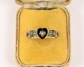 RESERVED +++Antique 9ct Gold Mourning Ring Hair Locket With Pearls & Enamel Chester 1913, Antique Memorial Jewellery,