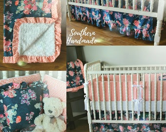 Navy Floral and Coral Crib Bedding