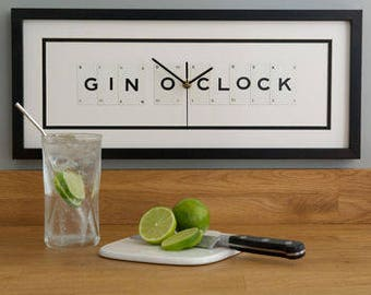 Gin O Clock Frame Clock by VINTAGE PLAYING CARDS