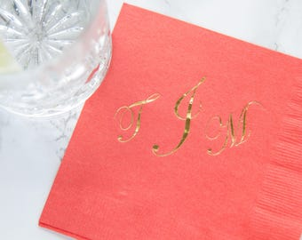 Elegant Large Monogram Personalized Wedding Napkins