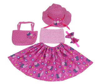 Little girl's summer skirt set - Made with Licensed Peppa Pig fabric