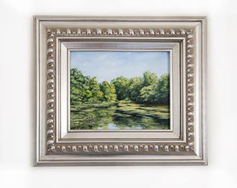 Green Lake Original Forest Landscape Oil Painting. 8x10  Framed Realistic Nature Painting. Home Wall Decor