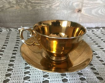 Royal Winton Grimwades English Bone China Tea Cup and Saucer GOLD