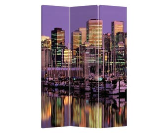 Room Divider Paravent Folding Screen Skyline 3 Panel (180x120cm) Furniture Home Decor Printed Canvas Two-Sided Fordable Screen Purple Modern