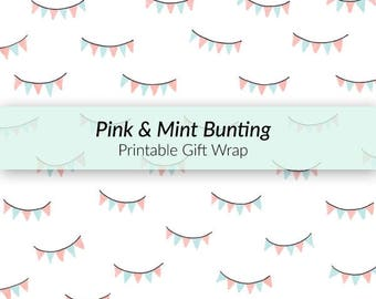 Printable Bunting Gift Wrap - printable wrapping paper, birthday paper, pastel gift wrap, bunting pattern, A4 gift wrap, hand-drawn giftwrap