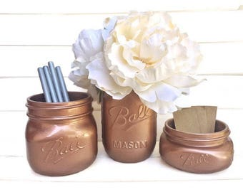 Three Mason Jars - Copper Rose Gold Office Decor Organizer Shabby Chic Rustic Distressed Teacher Appreciation Gift for Her