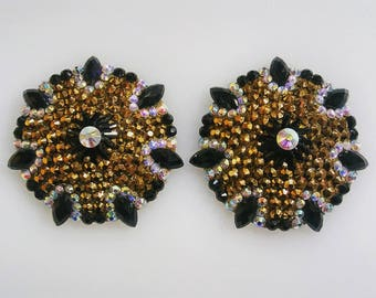Gold & Black Spiral Rhinestone Pasties