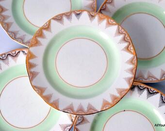 China Dessert Plates, Geometric China Pattern, Vintage Bone China, Vintage Dessert Plates, Vintage Wedding China, Vintage Tea Party, 1950 s