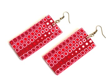 Valentine's earrings Long Polymer Clay earrings Fimo jewelry Bold Modern earrings Big Geometric earrings Dangle and Drop Red and White