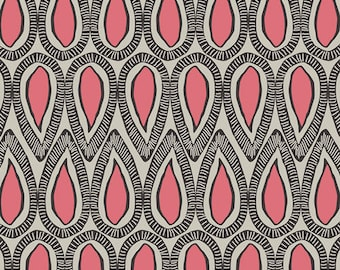Drops of Pamplemousse ETNO - ETN  50046 by Pat Bravo for Art Gallery Fabrics - Black and Pink Modern Tear drops -  Premium Cotton Fabric