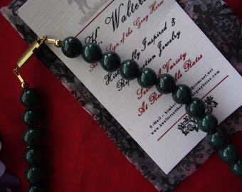 Item N-0103 - Green Jade or Autumn Jasper Necklace with Brass Clasp