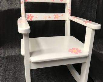 Child's Rocking Chair Falling Flowers