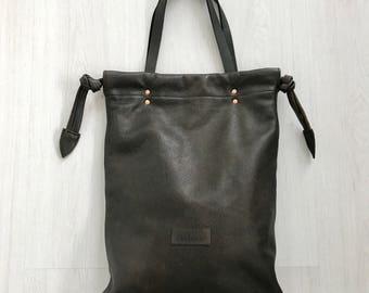 Dark brown leather tote bag, shoulderbag, handbag, drawstring tote