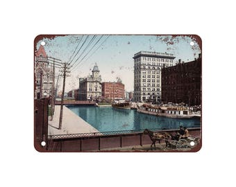 """1900 Erie Canal at Salina Street Syracuse - Vintage Look Reproduction 9"""" X 12"""" Metal Sign"""