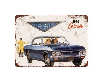 "1966 Chevrolet Corvair - Vintage Look Reproduction 9"" X 12"" Metal Sign"