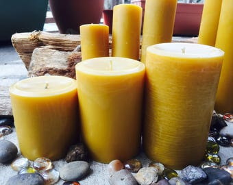 "100% Pure Beeswax Pillar Candle-beeswax candles-tall beeswax pillar candle-handmade pillar candles-organic beeswax candle-3""w up to 9""h"