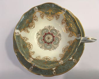 Paragon England Tea Set, Rare Sage Green Non-Floral Dainty Teacup and Saucer, By Appointment to Her Majesty the Queen