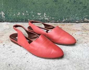 Vintage West 31st Salmon Pink Pointed Slingback Sandals | 7.5