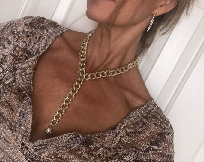 Gold Choker Necklace Gold Lariat Silver Chunky Chain Necklace Clothing Gift Woman Bridesmaids Holiday Jewelry Statement Necklace Diamond CZ