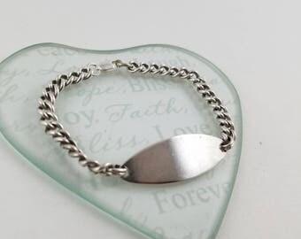 Sterling silver ID bracelet silver bracelet Sterling chain bracelet engravable name bracelet 15.4g PE2921