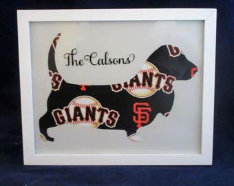 San Francisco Giants Basset Hound Decor, Giants Basset, MLB Decor, Gift for Dad, San Francisco Giants Wall Art