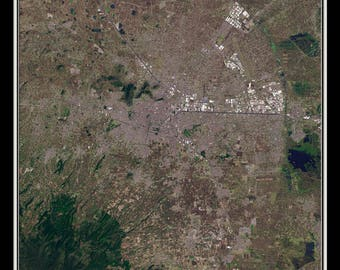 Toluca Mexico From Space Satellite Poster Map