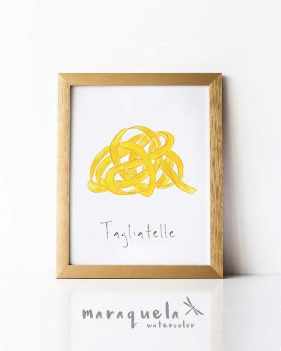 PASTA illustration III , TAGLIETALLE Italian food decor pasta, Wall Art food, Culinary art, Kitchen decor, Italian food, poster, Wall print