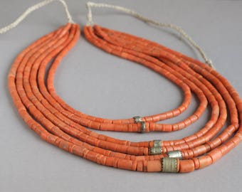 Antique Traditional Ukrainian necklace, Coral necklace, Coral beads with silver, Multi Strand Necklace,+Gift