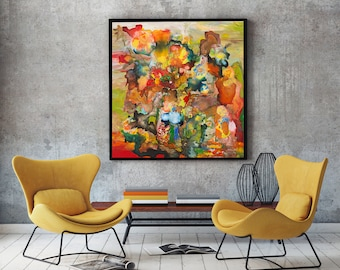 """Fire 24x24""""  / 60x60cm ORIGINAL Abstract PAINTING Canvas Expressionist Modern Contemporary Signed Expressive Unique Art living room Art"""
