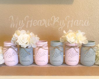 Pink and Gray Mason Jar Decor / Baby Shower Centerpieces / Baby Shower Decor / Rustic Home Decor / Elephant Baby Shower / Painted Mason Jars