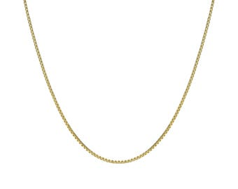 """14K Gold Box Chain Necklace, 14K Gold Chain, 0.5mm, 16""""-24"""", with Spring Clasp"""