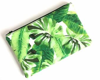 Tropical Zipper Pouch - Tropical Makeup Bag - Makeup Bag - Zipper Pouch - Palm Leaf Bag - Pencil Pouch - Gift for Her - Cute Makeup Bag