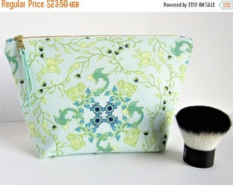 Sea Turtles - Nautical Bag - Large Makeup Bag - Sea Green - Gift for Her - Beach Style - Make Up Bag - Gift for Girlfriend