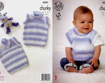 """King Cole Knitting Pattern 4583~Quick & Easy Slipovers~Chunky~14-28"""""""