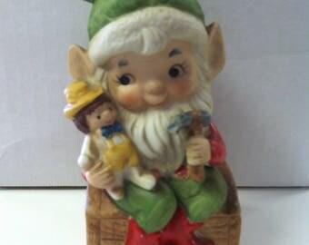 "Vintage 1980's HOMCO Handpainted Ceramic Christmas Elf Santa Claus 4.75"" Figure 5406"