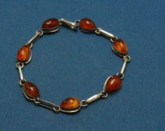Vintage Baltic Honey Amber 925 Sterling Silver Link Bracelet