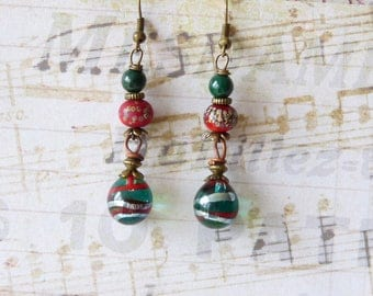 Chic Earrings, Lampwork Glass Beads, Minimalist Earrings, Dainty Earrings, Boho Chic, Bohemian Earrings, Dangle Earrings, Handmade Artisan